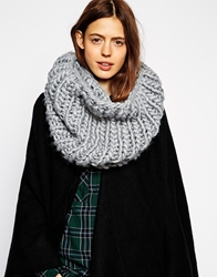Asos Chunky Hand Knit Funnel Snood Grey