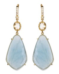 Penny Preville Oval Moonstone And Organic Aquamarine Earrings With Prong Diamonds