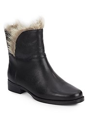 Ellen Tracy Bear Leather And Faux Fur Trimmed Booties Black