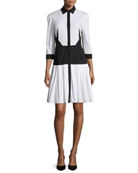 Prabal Gurung Long Sleeve Colorblock Shirtdress Navy White