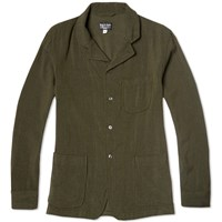Rough And Tumble Roll Lapel Blazer Olive Cavalry Twill
