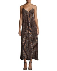 A.L.C. Katia Cross Back Pleated Multipattern Midi Dress Brown Multicolor