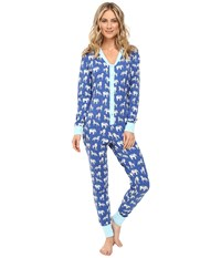 Bedhead Long Sleeve Classic One Piece Navy Three Ring Ciricus Women's Jumpsuit And Rompers One Piece Blue