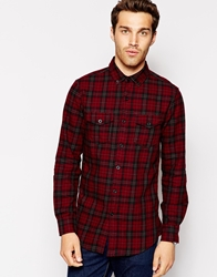 United Colors Of Benetton Brushed Flannel Check Shirt Burgundy