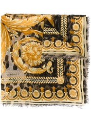 Versace Baroque Print Scarf Yellow And Orange
