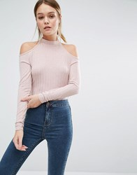 New Look Knitted Rib Cold Shoulder Jumper Nude Pink