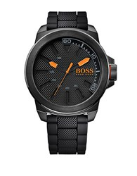 Hugo Boss Orange New York Black Ip Stainless Steel And Black Silicone Strap Watch