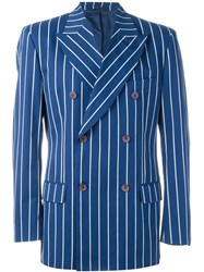Dolce And Gabbana Vintage Striped Double Breasted Blazer Blue