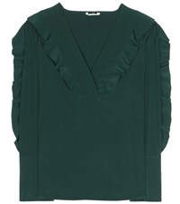Fendi Ruffled Silk Shirt Green