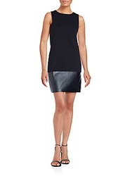 Saks Fifth Avenue Red Solid Sleeveless Sheath Dress Black