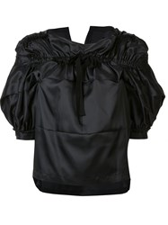 Comme Des Garcons Tricot Gathered Pussy Bow Blouse Black