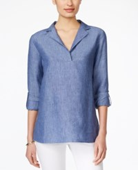 Charter Club Linen Tab Sleeve Tunic Only At Macy's Blue Ocean