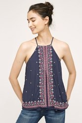 Anthropologie Midnight Flower Swing Tank Navy