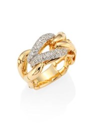 John Hardy Bamboo Diamond And 18K Yellow Gold Woven Ring