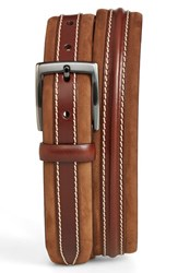 Men's Big And Tall Mezlan 'Parma' Leather And Nubuck Belt Tobacco Cognac