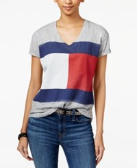 Tommy Hilfiger Flag Graphic T Shirt Grey Heather