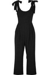 Rebecca Vallance Courtside Cropped Cutout Crepe Jumpsuit Black