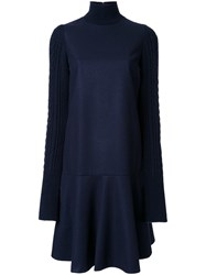 Le Ciel Bleu 'Knit Sleeve Flare' Dress Blue