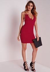 Missguided Crepe Applique Flower Bust Bodycon Dress Red