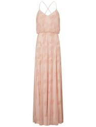 Adrianna Papell Long Beaded Dress Blush