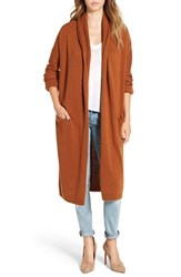Leith Women's Easy Fit Long Cardigan Rust Ginger