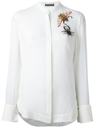 Alexander Mcqueen Embellished Insect Shirt White