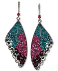 Betsey Johnson Hematite Tone Colored Pave Butterfly Wing Drop Earrings Silver