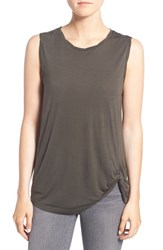 Cupcakes And Cashmere Women's 'Matthews' Front Twist Tank Army Green