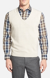 Brooks Brothers Pique Woven Merino Wool Sweater Vest Natural Beige