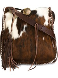 Ralph Lauren Whipstitch Artisanal Hobo Shoulder Bag Brown