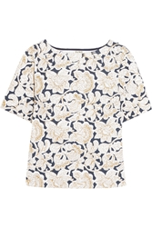 Suno Metallic Embroidered Cotton Canvas Top