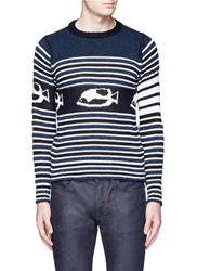 Thom Browne Stripe Cotton Wool Mohair Cropped Sweater Blue