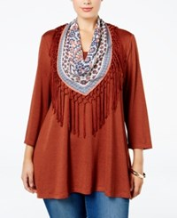 Styleandco. Style Co. Plus Size Top With Fringe Scarf Only At Macy's Rich Auburn Heather