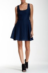 Necessary Objects Sleeveless Woven Texture Skater Dress Blue