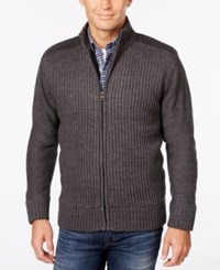 Weatherproof Vintage Men's Big And Tall Ribbed Zipper Cardigan Only At Macy's Charcoal Heather