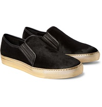 Balmain Leather Trimmed Calf Hair Slip On Sneakers