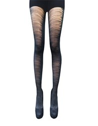 Zac Posen Control Top Ripped Style Tights Black