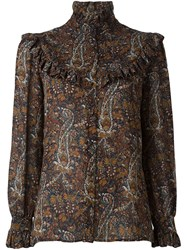 Saint Laurent Paisley Print Folk Blouse Brown