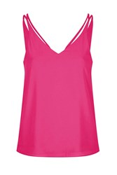 Topshop Petite Double Strap V Front Cami Pink