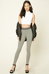Forever 21 Striped Heathered Leggings Heather Grey Black