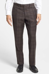 Duckie Brown Flat Front Check Wool Trouser Brown