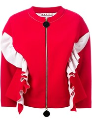 Marni Ruffle Bomber Jacket Red
