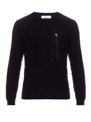 Valentino Zip Pocket Wool And Cashmere Blend Sweater Navy