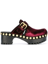 Car Shoe Studded Mules Red