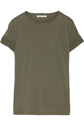 Helmut Lang Distressed Slub Cotton And Cashmere Blend Jersey T Shirt Army Green
