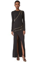 Balmain Zipper Detail Gown Black
