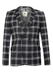 Topman Noose And Monkey Black And White Check Suit Jacket