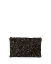 Lauren Merkin Ellie Flecked Suede Pouch Black Gold