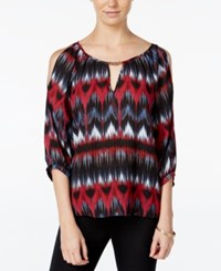 Amy Byer Bcx Juniors' Printed Cold Shoulder Blouse Zig Zag Multi