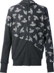 Vivienne Westwood Anglomania Logo Print Zip Up Cardigan Black